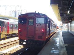 岩国駅からはこちらの1両ワンマンカーに乗ります。