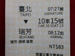 台北駅で、瑞芳までの急行・指定席、猴[石同]までの乗車券を購入。