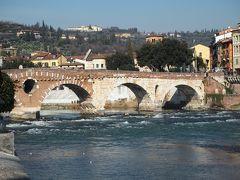 ピエトロ橋です。 ピエトラとは石の意味です。石橋という意味です。 古代ローマ時代に建てらたものです。 後世に修復された部分は煉瓦つくりになっています。