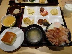 2日目の朝はホテルに併設されている食堂のんき亭で食べました。 おかか卵かけご飯がおいしかったです。