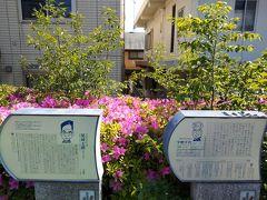 25「尾崎士郎」と26「宇野千代」夫婦の案内板です。「尾崎士郎」の案内板は二箇所にあります。 (http://www.magome-bunsimura.com/board05_ozaki_shiro.php) (http://www.magome-bunsimura.com/board04_uno_chiyo.php)
