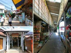 乗合ソンテウでバンパオへ行ってみる 降りると土産物屋やレストランがずらっと並んで桟橋に続いている