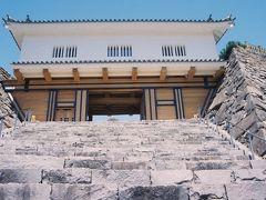 5/3(金) 甲府駅の直ぐ近くに位置する甲府城趾に来ました、  現在は舞鶴城公園として石垣や櫓に門柱などが修復・復元されているようです。  この立派に復元されたのは「鉄門」、両脇の石垣上に設けられた武者溜まりがある旧南門のようです。