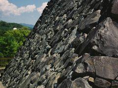本丸への石垣ですが、一枚岩を積み上げたのではない野面積みです?…、自然の石をそのまま積み上げる方法です~、  徳川に成ってからは幕末まで天領地なのですが、天守閣は無かったのでしょうか?…、謎です?。