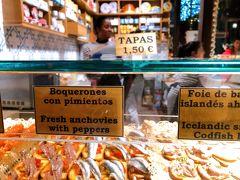 ラーメン食べたばかりなので、今日は眺めるだけ。 お肉、魚…お店によって商品に特徴があります。  一口サイズのタパスが、ひとつ1.50ユーロ。 市場だけでお腹一杯食べようと思ったら意外と高くつくかもしれません。