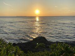 帰りも路線バスで。 18時前にはホテル近くに戻ってきました。 夕日に間に合いそうなので、海洋博公園へ。