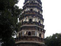 虎丘の斜塔。 本当に斜めだった。
