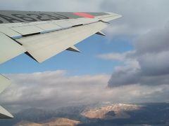 熊本空港到着。離陸後、上空から阿蘇の雪化粧を再確認。