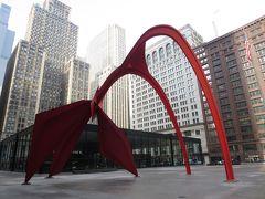 それから屋外美術をめぐる。11時。 Kluczynski Federal Building   フラミンゴ Calder's Flamingo