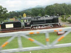 音威子府行宗谷バス車内。 寿公園に保存されているSLです。