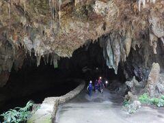 鬱蒼とした森に大きく口を開けた洞窟に入っていきます。