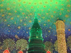 5階に行くと目に飛び込んでくる鮮やかなエメラルドの仏塔と天井画。 宇宙やプラネタリウムにいるような幻想的な空間が魅力とのことですが、 この独特の世界観を受け入れられるかどうかは・・?