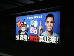 台北捷運台北車站駅板南線ホームで見かけた、「ムヒ」の広告。 台湾版の「ムヒ」の広告には可愛い虎猫ちゃんが登場します。