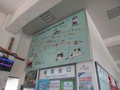 猴トン駅舎内の周辺案内図にも、可愛い猫のイラストがあちこちに。