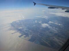 【ベトナム航空】上海上空 ちょうど、浦東空港の真上を通過 上海の南のほうの地形や長江の河口がよく見えました