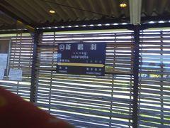 新鶴羽駅です。駅の改修を社員が協力したそうで、手作りの竹の駅舎となってます。