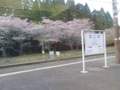 大畑駅はサクラが満開でした。ループとスイッチバックの両方がある駅で、両隣の人吉駅と矢岳駅の高低差は430.3mもあります。 二駅進む間に東京タワー333m以上の距離を列車が登っている訳ですから、建設された明治時代から難所なのも納得。  いさぶろう・しんぺいに乗った時は明治42年建設の駅舎にも入ったけど、この普通列車では眺めるだけです。