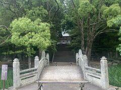 志都岐山神社前に架かる万歳橋。萩藩校明倫館より移築された太鼓橋