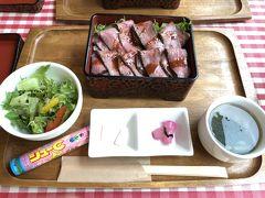 ハンバーグステーキも惹かれましたが やっぱりここは鳥取和牛のローストビーフ  サラダに使われているしそドレッシングが美味しくて 友人は1階で購入。