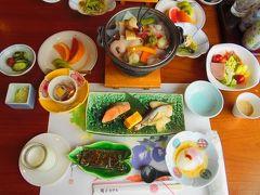 鳴子ホテル2日目の朝食です。 バイキング料理の予定でしたが、個別のお膳に変わってしまいました。