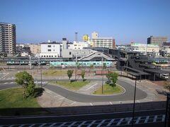 客室から見える西鉄柳川駅