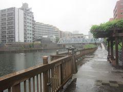 神社の南側を流れる小名木川 向こうに見えるのは小松橋 川沿いの遊歩道をちょっと歩いてみます