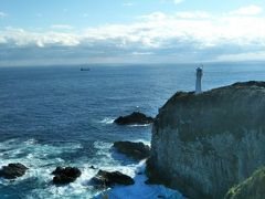 遊歩道をザクザク歩いて、灯台のよく見える岬へ。 約46mの断崖に立つ足摺岬灯台。