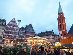 フランクフルトはクリスマスマーケットの中心地にトラムの駅があるので、とても便利です(´▽`*)  レーマー広場は木組みの家や教会もあって、良い雰囲気♪