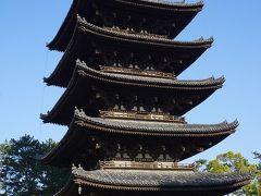 ●興福寺@奈良公園界隈  ちょっと寄り道をして、興福寺の五重塔です。 奈良のシンボル的存在でもあります。 日本で二番目に高い木造の塔なんだそうです。 ちなみに一番は、京都の東寺さんの五重塔のようです。