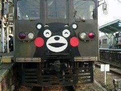 北熊本駅で乗り換えです。くまモン列車は可愛かったです。