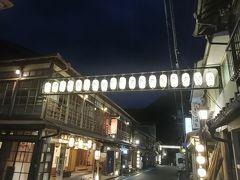 夜の温泉街を散策しました.提灯の灯りが風情を醸し出していました.