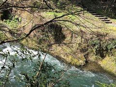 あやとり橋を渡って、谷底に下りていくと、鶴仙渓遊歩道が整備されています。  流れは結構早くて、水もとてもきれいでした。