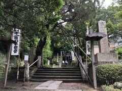 杉本寺の入口。 「十一面杉本観音」という白い旗が、階段の上の本堂まで、ずらり。