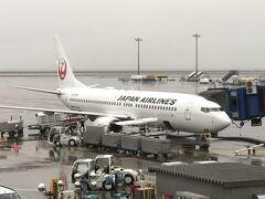 名古屋・中部国際空港(セントレア) 第1ターミナル  本日搭乗した日本航空JL201便(ボーイング737-800)の写真。  6番ゲートに到着しました。 8:43にドアオープン。 JL201便の名古屋・中部国際空港への到着予定時間は8:30でしたが、 7:40にテイクオフでしたので、フライト時間は1時間3分であり、 当初のフライト時間(1時間)とほぼ同じでした。
