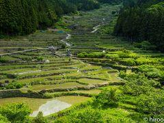 最初に訪れたのは、四谷の千枚田。ここは、鞍掛山に水源を持ち、麓に広がる石垣に夜棚田です。高低差200mに420枚の棚田があります。ここは、日本の棚田百選にも選定されています。 丁度、田に水が張られ、農家の方々が田植えをされていました。