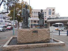 JR北陸本線長浜駅前にある豊臣秀吉と石田三成の銅像です。