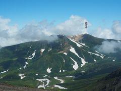 北から。比布岳。この山でも標高2197mあり、旭岳と100mほどしか変わらないんですね。
