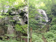 ブラタモリにも出てきた「九段の滝」です。その左側の岩は柱状節理になっています。