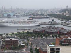 横浜赤レンガ倉庫、横浜マリンタワーなど。 飛鳥Ⅱがまだ停泊している。