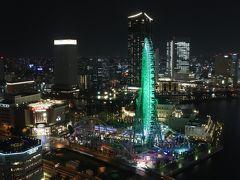 2628号室からの夜景。 正面にコスモクロック21、左後方にアパホテル&リゾート横浜ベイタワー。