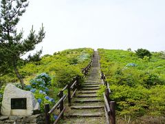 球島山の展望台に到着。 駐車場に車を置いて、 階段を登れば山の頂上。