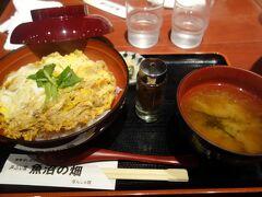 越後湯沢の駅について夕食。 駅に入ってる「魚沼の畑」という店で親子丼