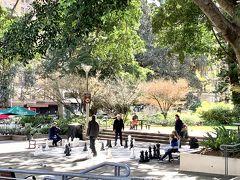 公園でチェスをする人達。 ヨーロッパでも、この光景をたまに見ますね。
