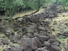 何だ、これは! 何と、天の川☆☆ 崖崩れの進行中、では有りません。  神野山山腹に、幅平均25m、長さ約650mにわたって、角閃斑レイ岩という黒くて堅い大小の岩石がまるで溶岩の流れのように続いている地形、地質学的に見ても非常に珍しい景観です。 山添村の在る大和高原地域一帯は花崗岩質で形成されていますが、その中でも神野山だけは班レイ岩という深成岩(火成岩の一種)で出来ています。それは前地質時代に山の表面が風化して、次第に細かく土壌化する際に、班レイ岩の特に硬い部分が風化に耐えて岩石のまま残り、当時の谷底に自然に移動して集まったもので、その後地形の変化に伴って現在のような浅い谷となり、岩石が谷にそのまま長い列をなして堆積したものと考えられています