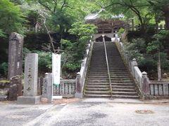 44番大宝寺への道はお遍路全体で2番目の長距離です。しかも険しい峠を越える難所です。寺に着いて参道を登り切ってもまだ急な石段があります。ここをなんとか登り、正面に見えている本堂、右に大師堂、手前に平和の鐘にようやくたどり着けました。