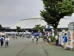 西武球場の前にはファンが。 西武球場とは呼ばず、メットライフドームって言うのね。