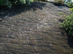 鎧のように見える国指定天然記念物の鎧岩。マグマが固まる過程で割れ目が生じたものが隆起して地表に現れたもので全国的にも珍しいものとのことです。