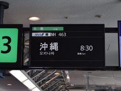 那覇空港へはNH463、シップはボーイング777-300です。7:30発でしたが、出発直前に電気系統のトラブルでシップチェンジに。1時間の遅れで無事離陸しました。