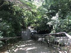 急な階段の脇には水が滝のように流れています。