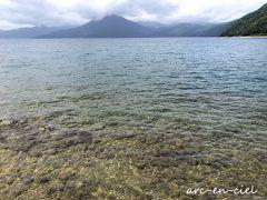 遊歩道を歩いていくと、湖のほとりに降りる階段がありました。 少し足をつけてみると、冷たくて、気持ちいい(^^)/。  ちなみに、支笏湖は、日本最北の不凍湖であり、透明度は日本一なんだそうです。